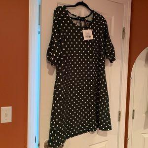 NWT Agnes & Dora Adams dress size medium white dot